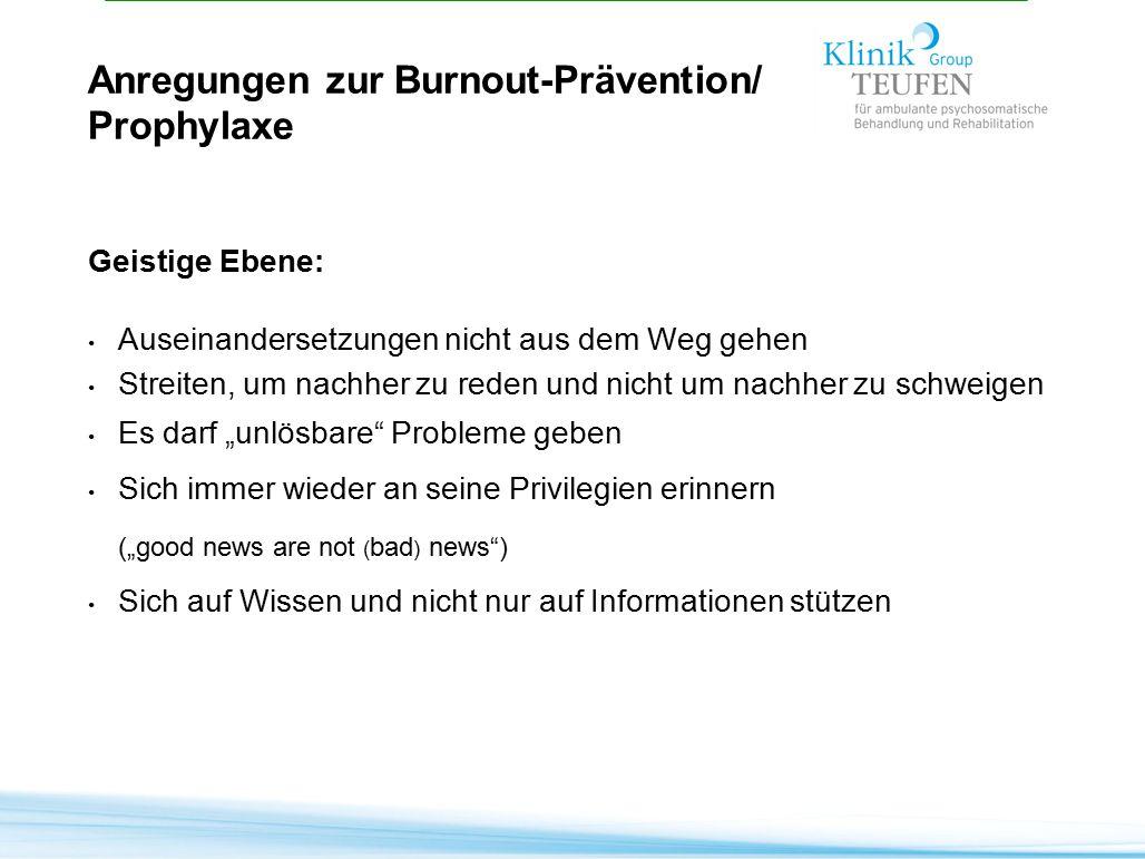 Anregungen zur Burnout-Prävention/ Prophylaxe