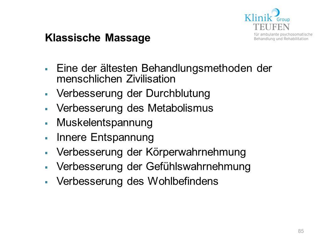 Klassische Massage Eine der ältesten Behandlungsmethoden der menschlichen Zivilisation. Verbesserung der Durchblutung.