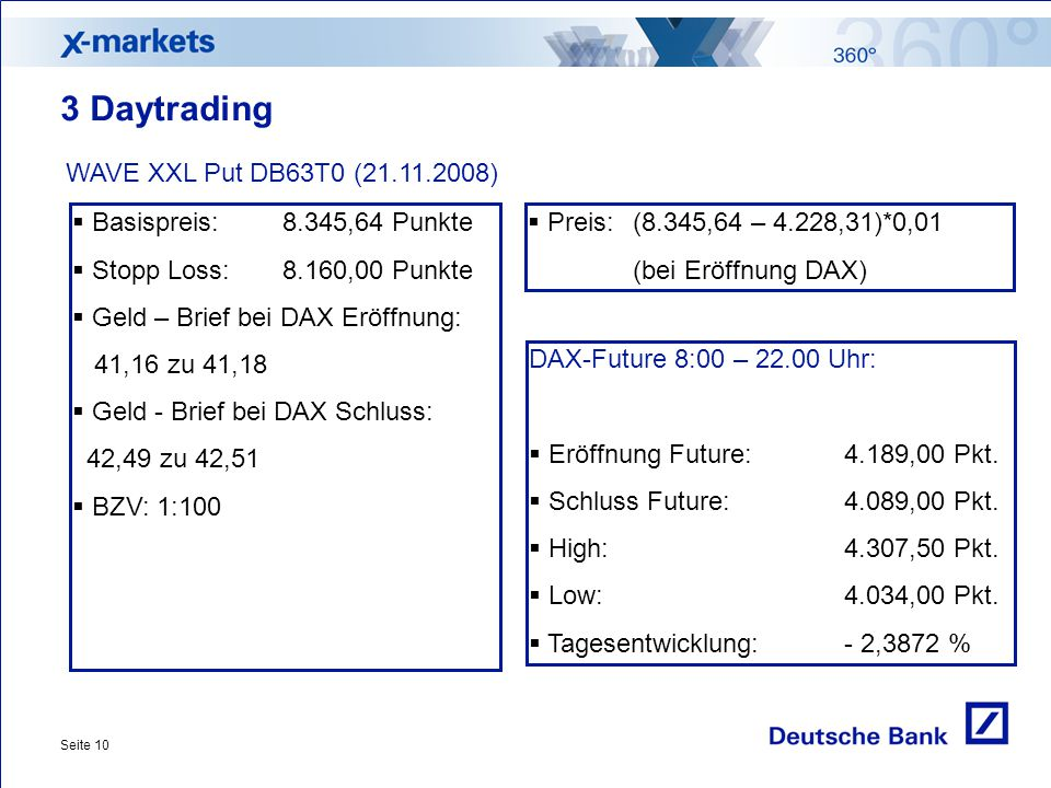 3 Daytrading WAVE XXL Put DB63T0 (21.11.2008)