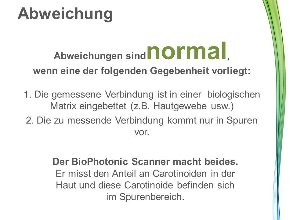Abweichungen sindnormal, Der BioPhotonic Scanner macht beides.