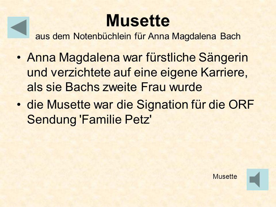 Musette aus dem Notenbüchlein für Anna Magdalena Bach
