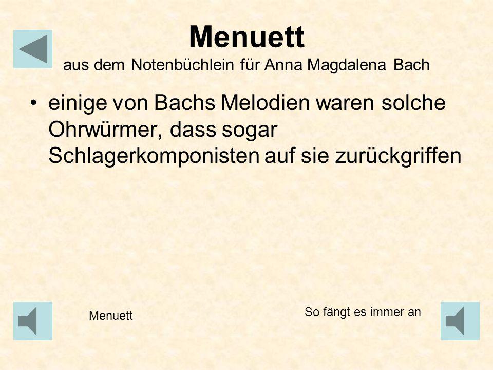 Menuett aus dem Notenbüchlein für Anna Magdalena Bach