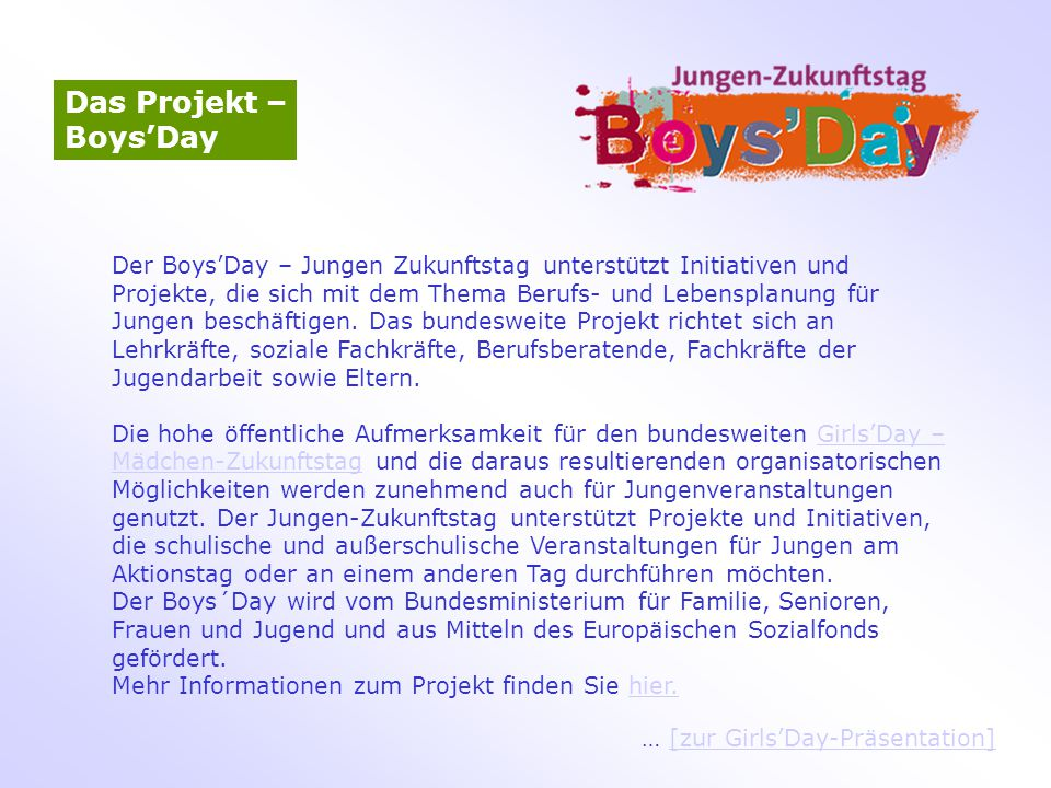 Das Projekt – Boys'Day.