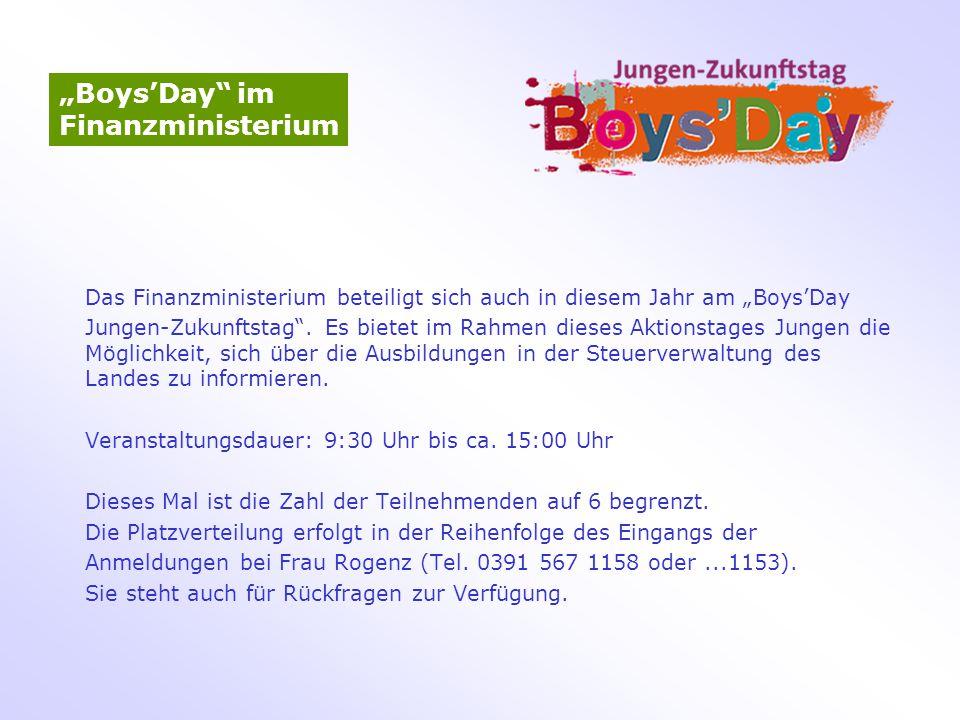"""Boys'Day im Finanzministerium"