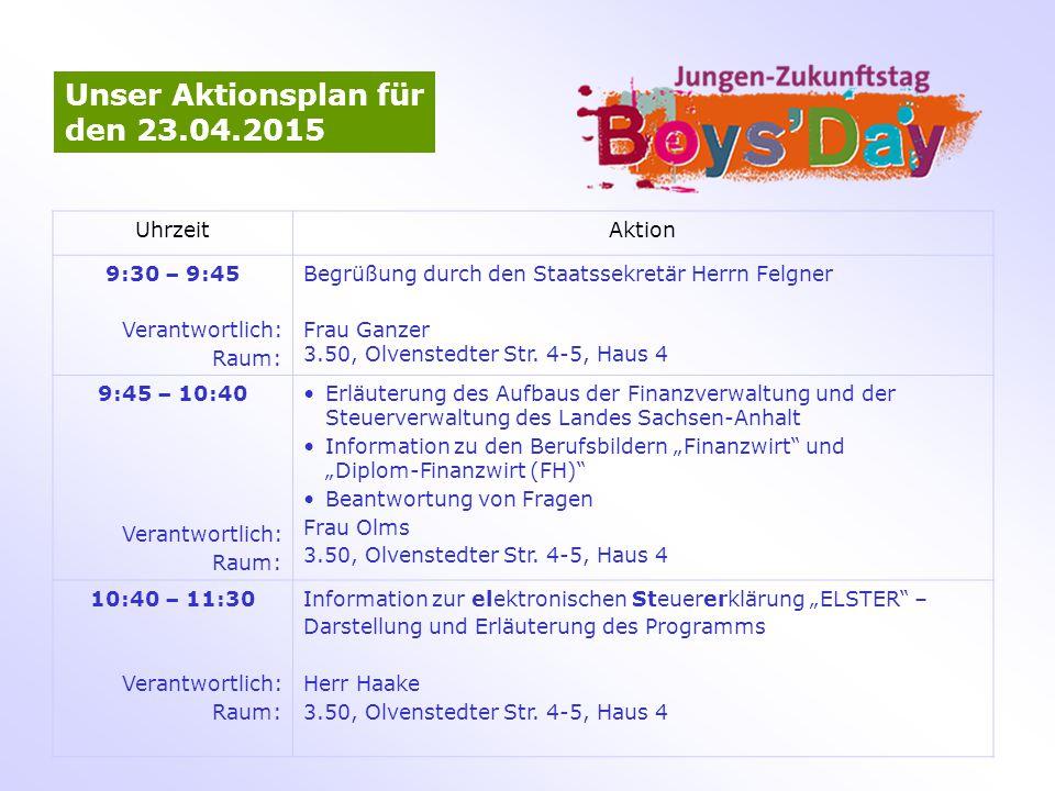 Unser Aktionsplan für den 23.04.2015 Uhrzeit Aktion 9:30 – 9:45