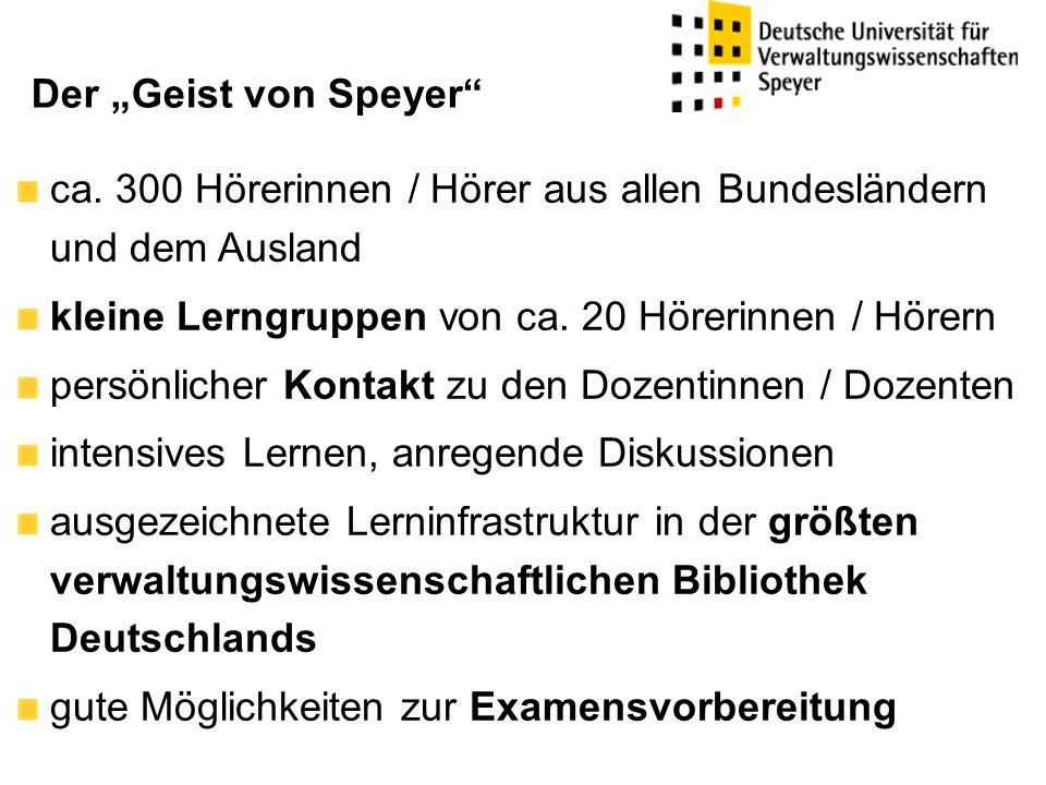 """Der """"Geist von Speyer ca. 300 Hörerinnen / Hörer aus allen Bundesländern und dem Ausland. kleine Lerngruppen von ca. 20 Hörerinnen / Hörern."""