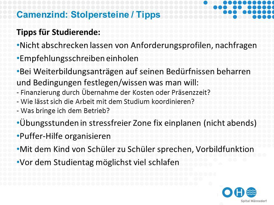 Camenzind: Stolpersteine / Tipps