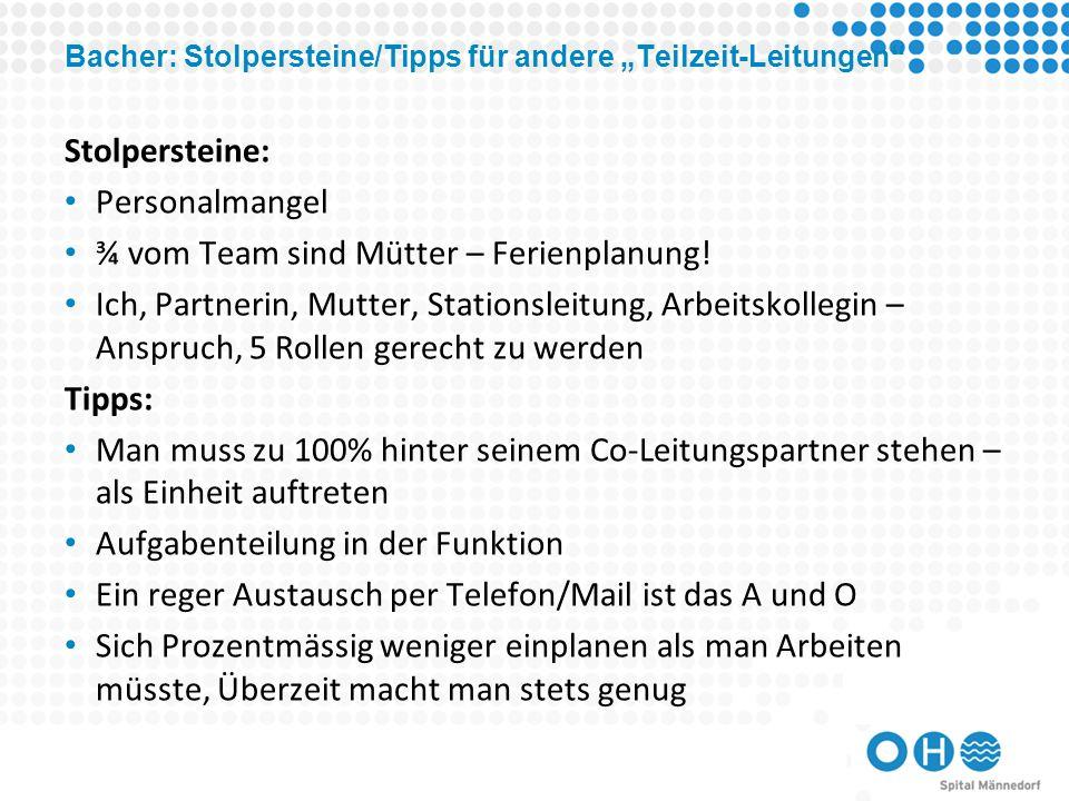 """Bacher: Stolpersteine/Tipps für andere """"Teilzeit-Leitungen"""