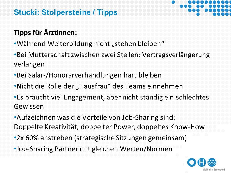 Stucki: Stolpersteine / Tipps
