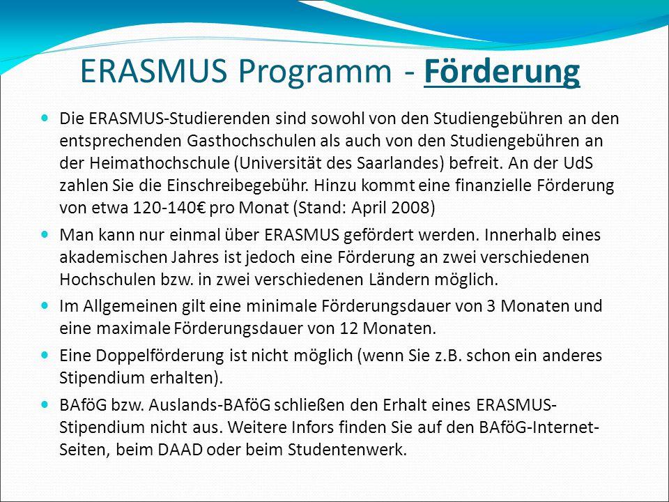 ERASMUS Programm - Förderung