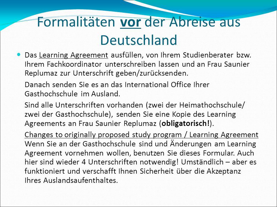 Formalitäten vor der Abreise aus Deutschland