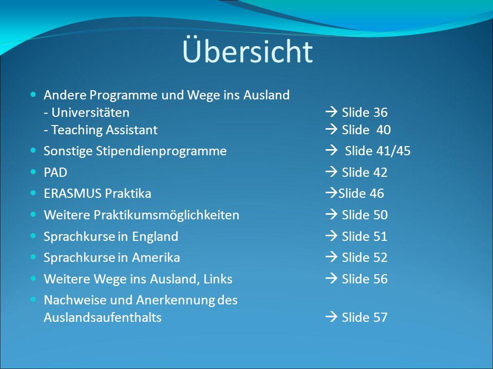 Übersicht Andere Programme und Wege ins Ausland - Universitäten  Slide 36 - Teaching Assistant  Slide 40.