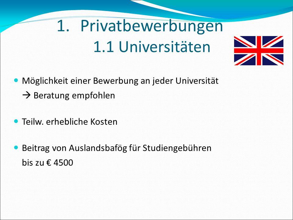 Privatbewerbungen 1.1 Universitäten