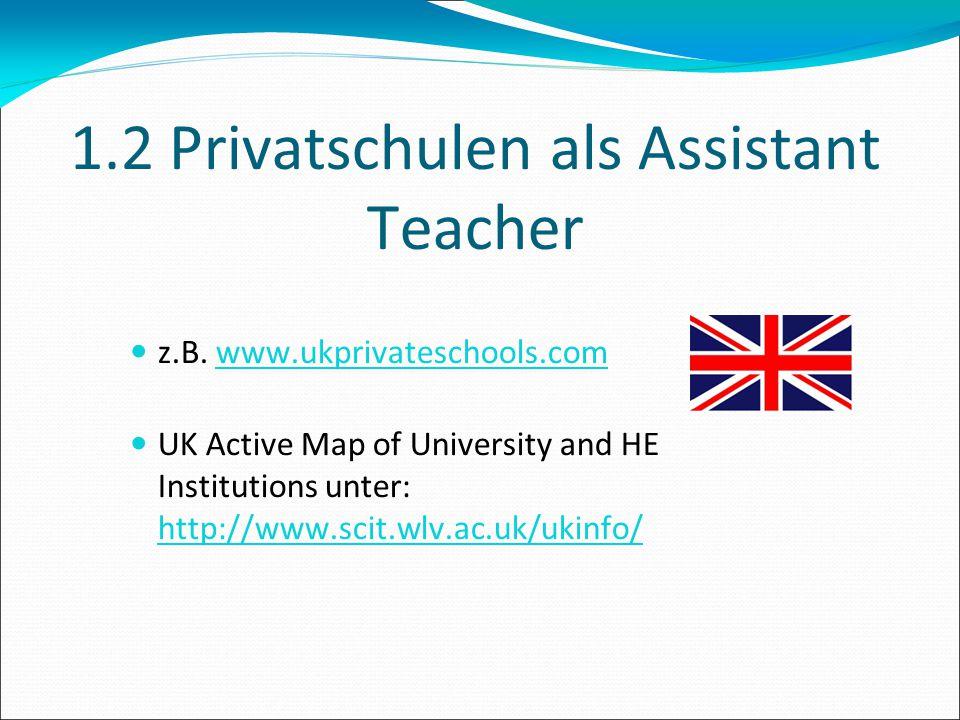 1.2 Privatschulen als Assistant Teacher
