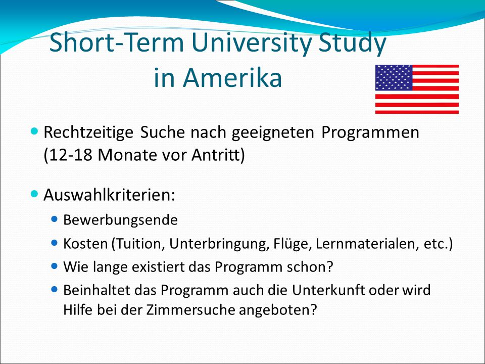 Short-Term University Study in Amerika