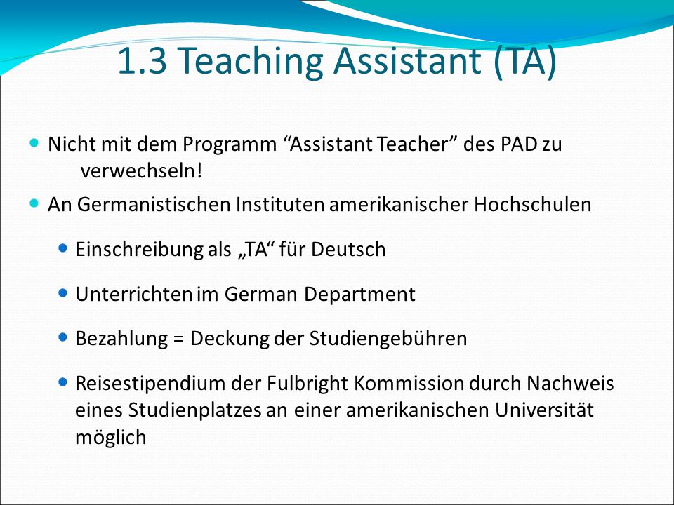 1.3 Teaching Assistant (TA)‏