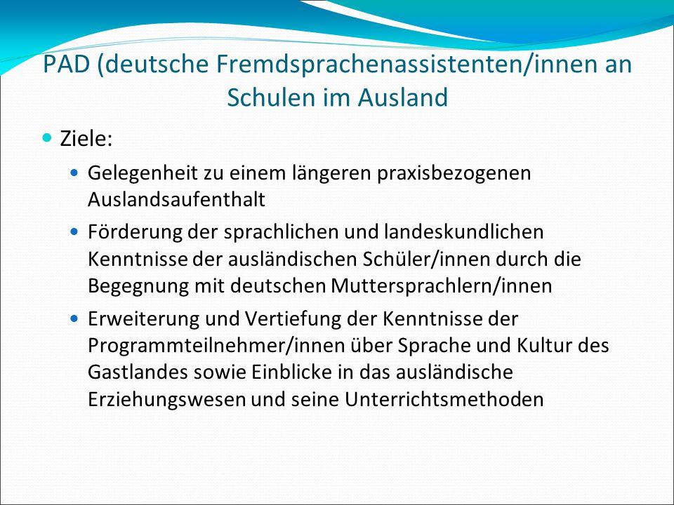 PAD (deutsche Fremdsprachenassistenten/innen an Schulen im Ausland