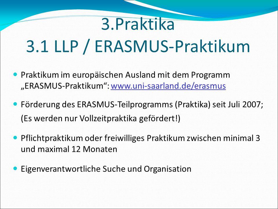3.Praktika 3.1 LLP / ERASMUS-Praktikum