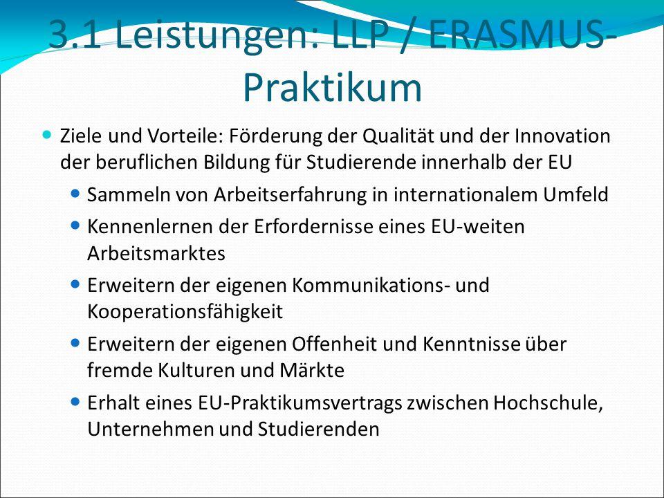 3.1 Leistungen: LLP / ERASMUS-Praktikum