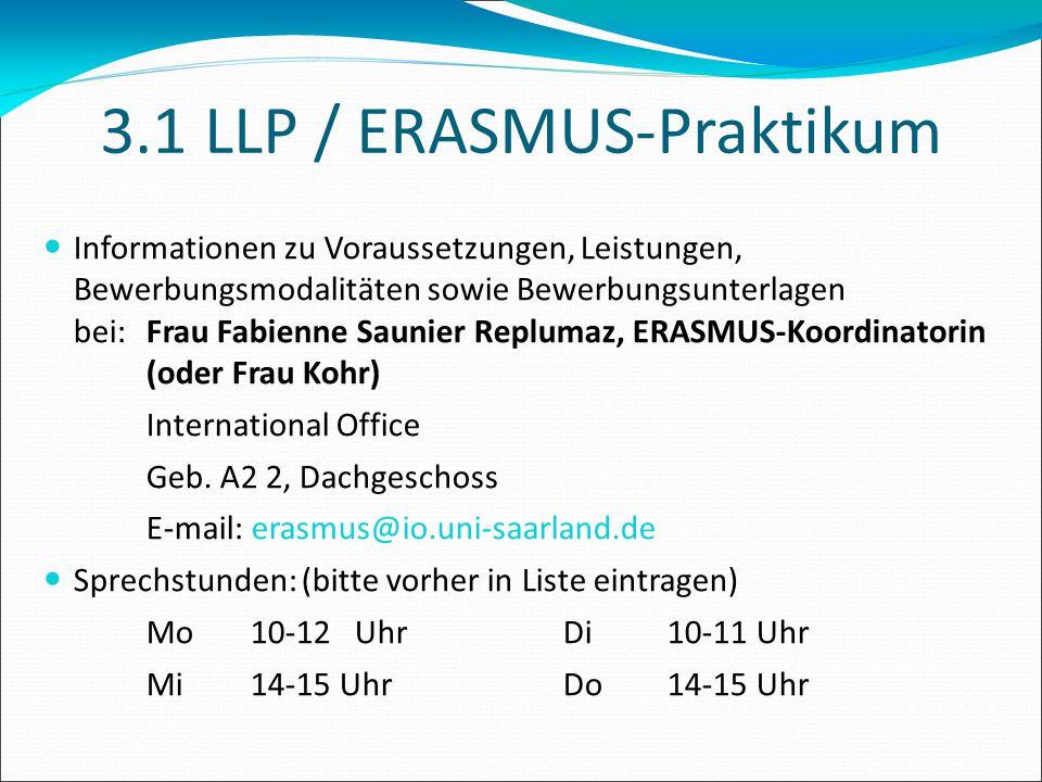 3.1 LLP / ERASMUS-Praktikum