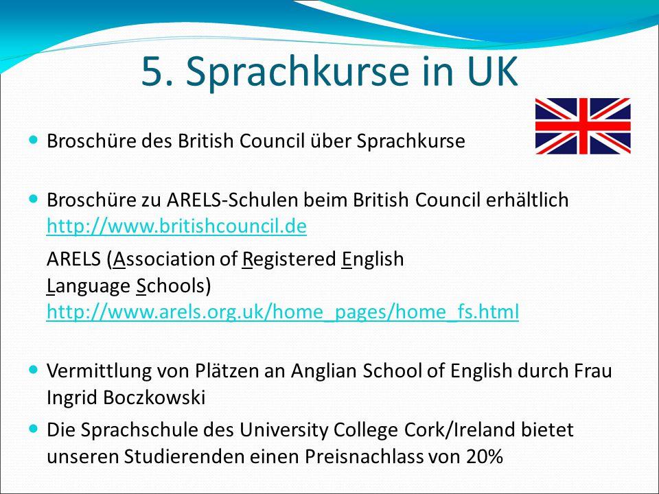 5. Sprachkurse in UK Broschüre des British Council über Sprachkurse