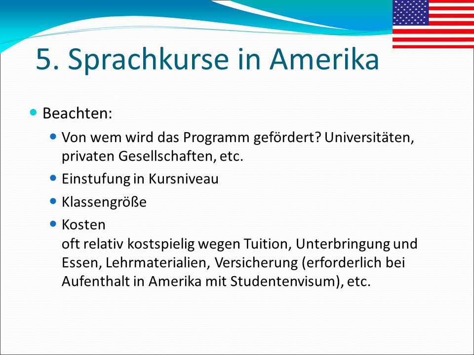 5. Sprachkurse in Amerika