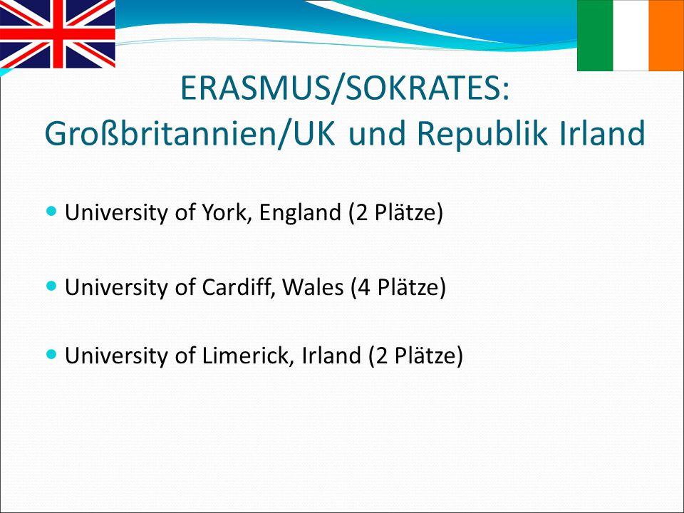 ERASMUS/SOKRATES: Großbritannien/UK und Republik Irland