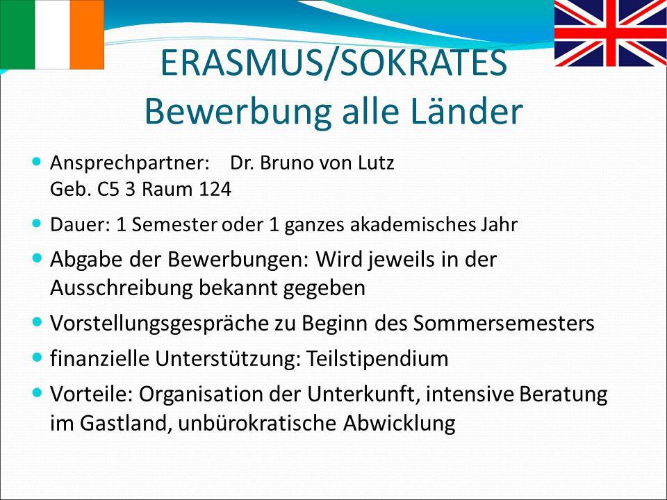 ERASMUS/SOKRATES Bewerbung alle Länder