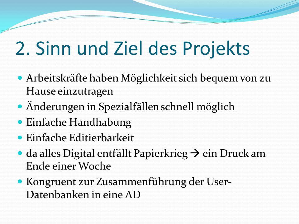 2. Sinn und Ziel des Projekts