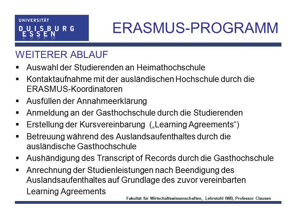ERASMUS-PROGRAMM WEITERER ABLAUF