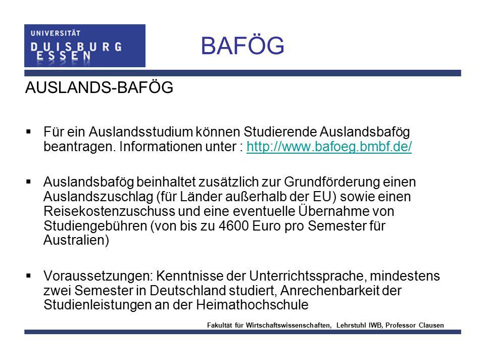 BAFÖG AUSLANDS-BAFÖG. Für ein Auslandsstudium können Studierende Auslandsbafög beantragen. Informationen unter : http://www.bafoeg.bmbf.de/