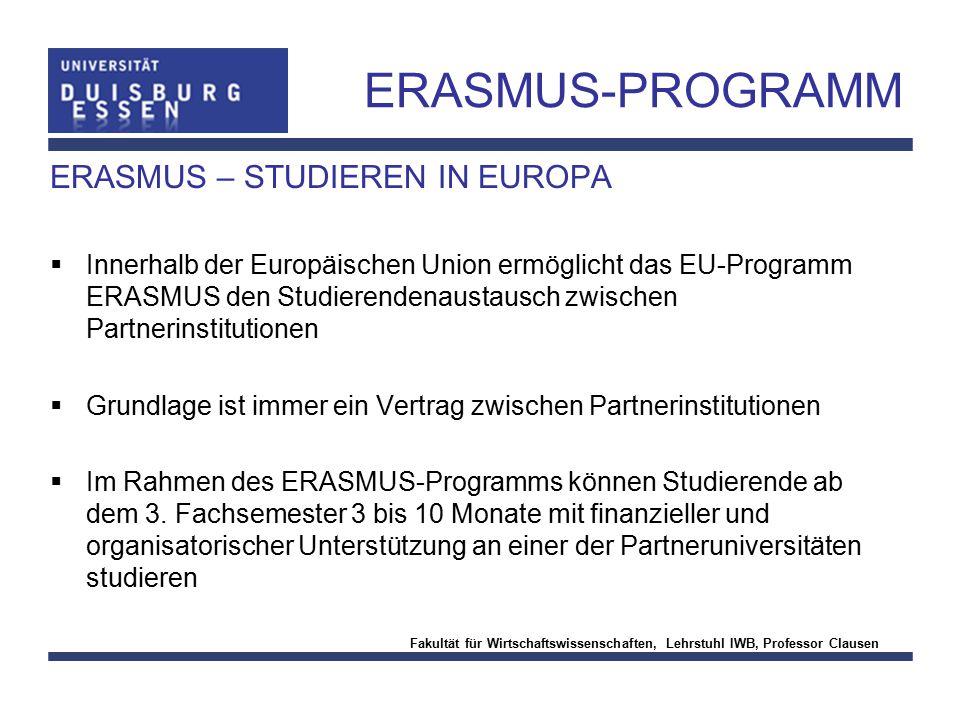 ERASMUS-PROGRAMM ERASMUS – STUDIEREN IN EUROPA