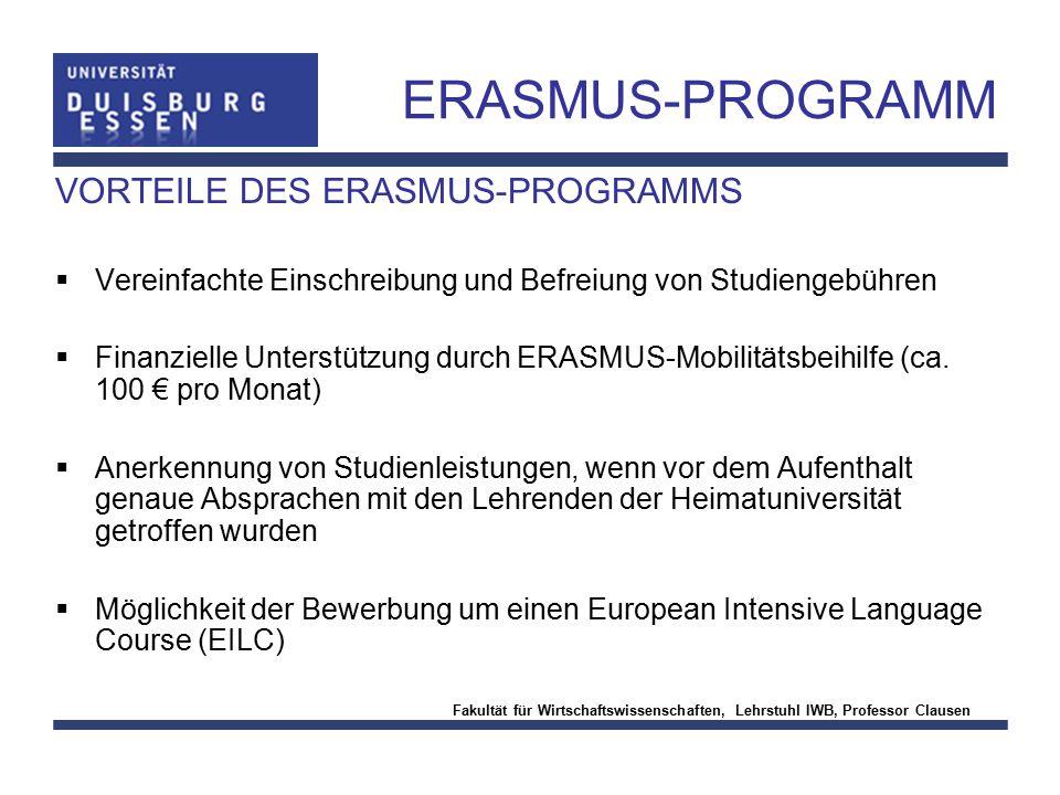 ERASMUS-PROGRAMM VORTEILE DES ERASMUS-PROGRAMMS