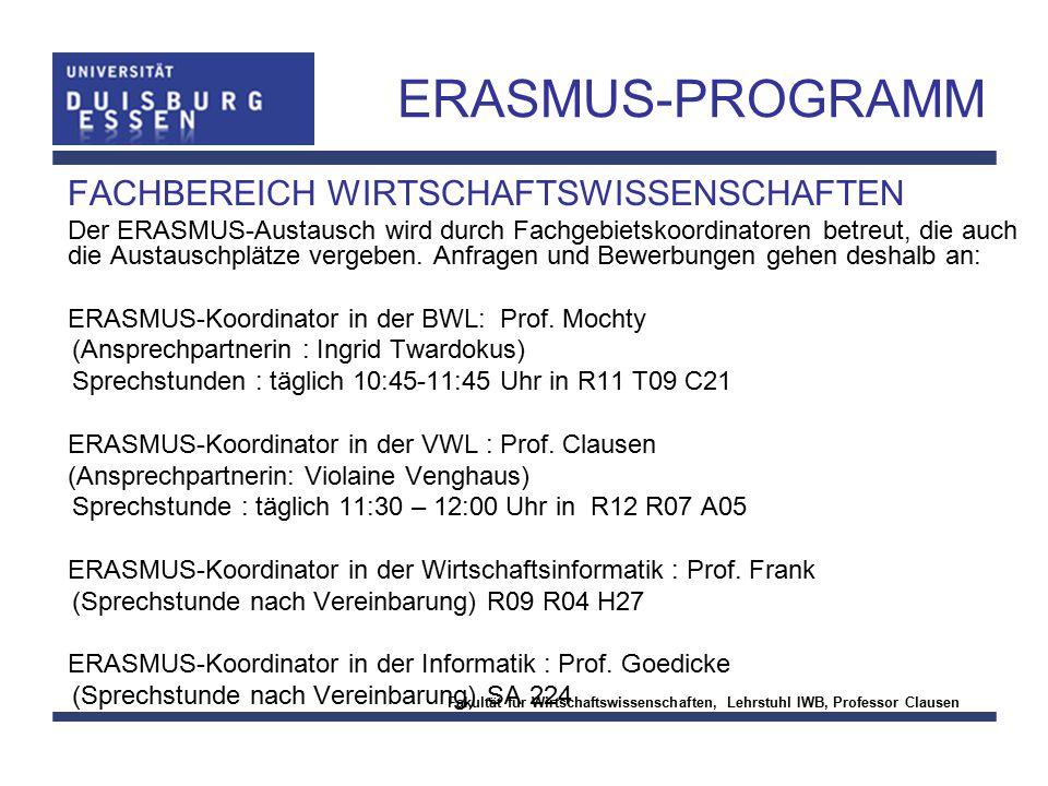 ERASMUS-PROGRAMM FACHBEREICH WIRTSCHAFTSWISSENSCHAFTEN