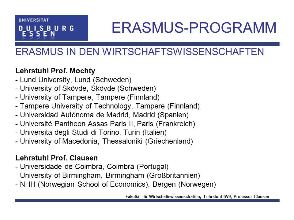 ERASMUS-PROGRAMM ERASMUS IN DEN WIRTSCHAFTSWISSENSCHAFTEN