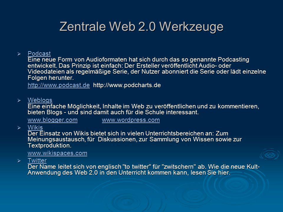 Zentrale Web 2.0 Werkzeuge