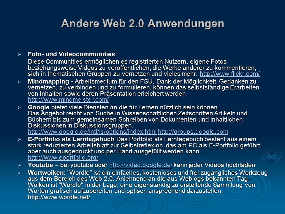Andere Web 2.0 Anwendungen