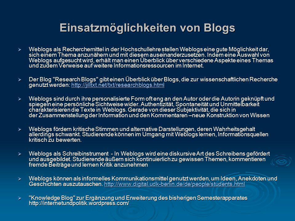 Einsatzmöglichkeiten von Blogs