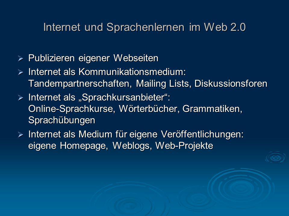 Internet und Sprachenlernen im Web 2.0