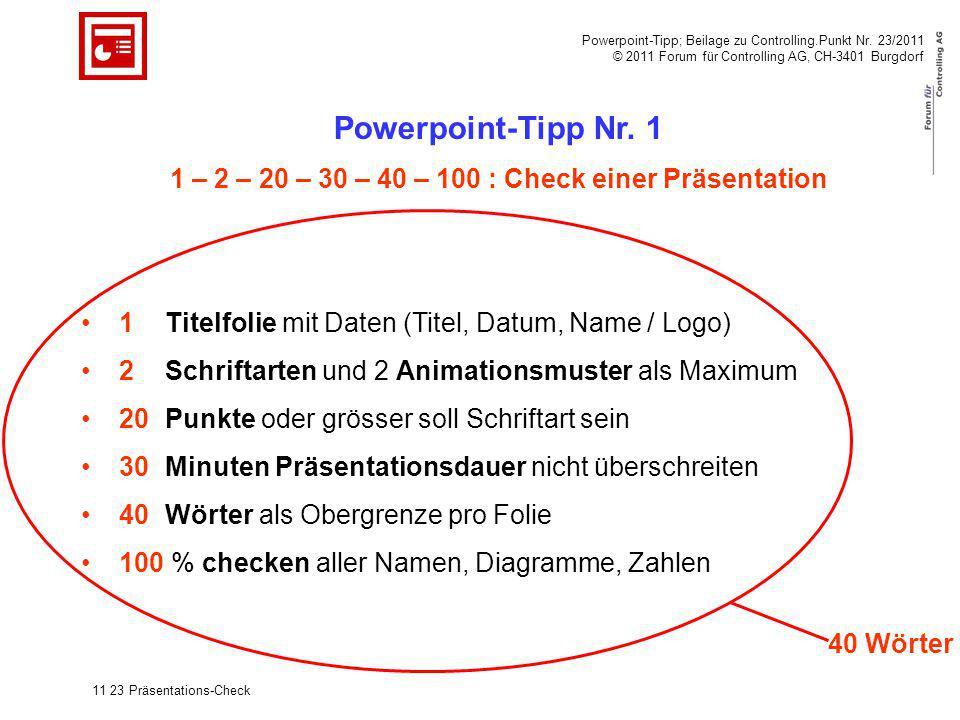 1 – 2 – 20 – 30 – 40 – 100 : Check einer Präsentation