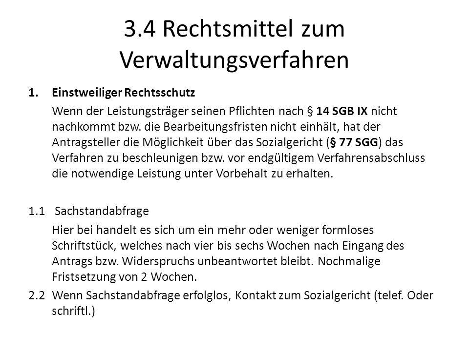 3.4 Rechtsmittel zum Verwaltungsverfahren