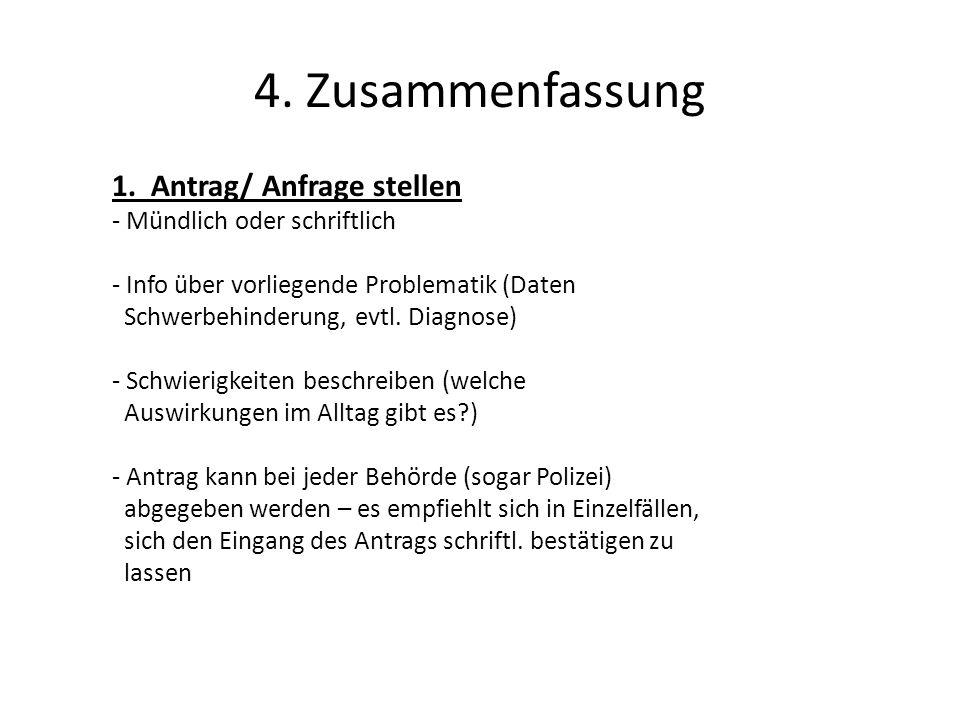 4. Zusammenfassung 1. Antrag/ Anfrage stellen