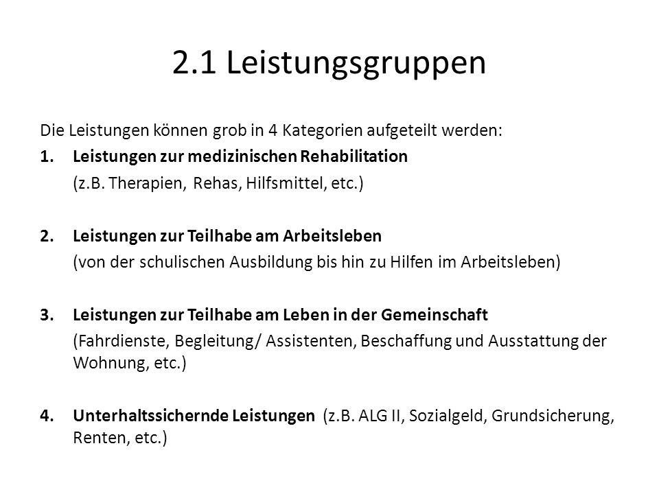2.1 Leistungsgruppen Die Leistungen können grob in 4 Kategorien aufgeteilt werden: Leistungen zur medizinischen Rehabilitation.