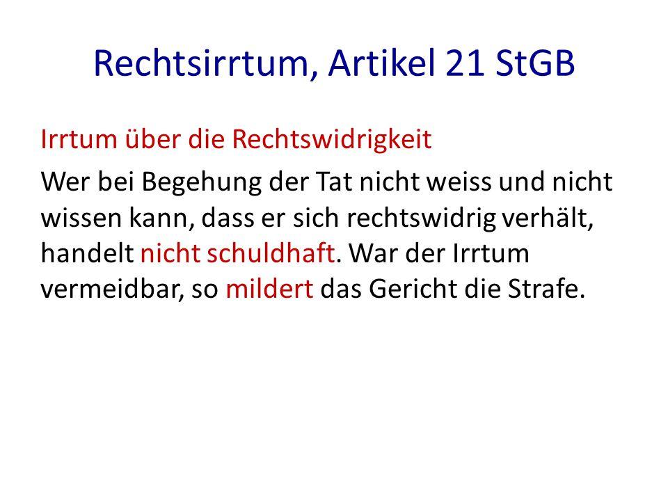 Rechtsirrtum, Artikel 21 StGB