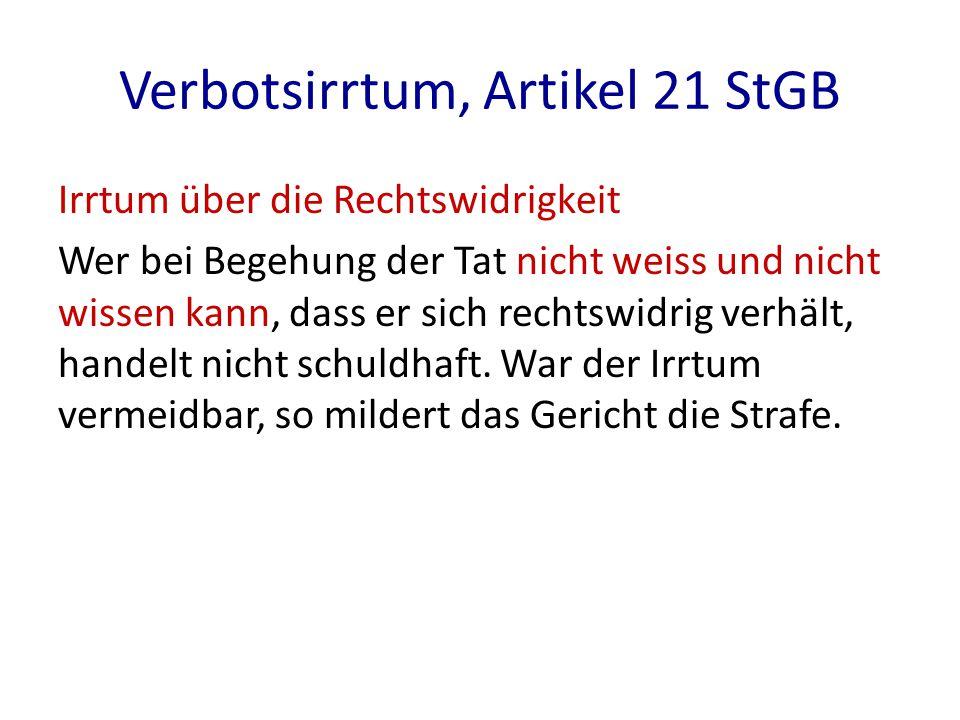 Verbotsirrtum, Artikel 21 StGB