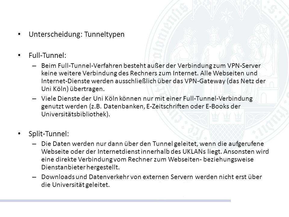 Unterscheidung: Tunneltypen Full-Tunnel: