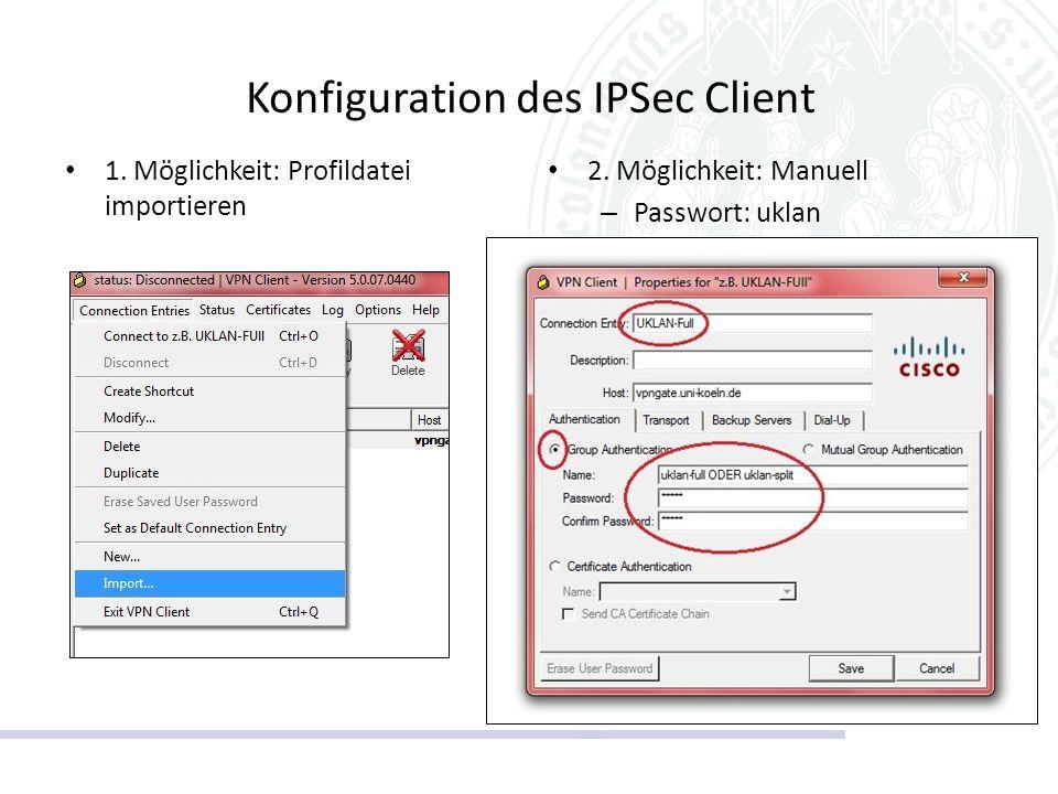 Konfiguration des IPSec Client