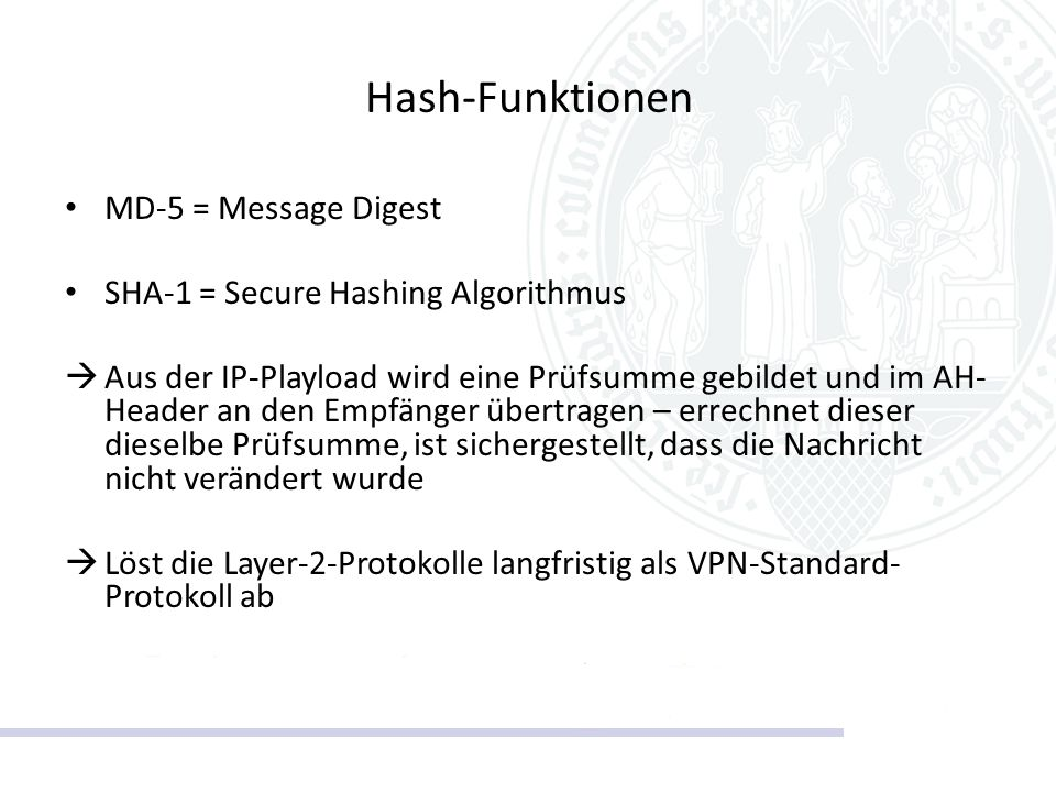Hash-Funktionen MD-5 = Message Digest