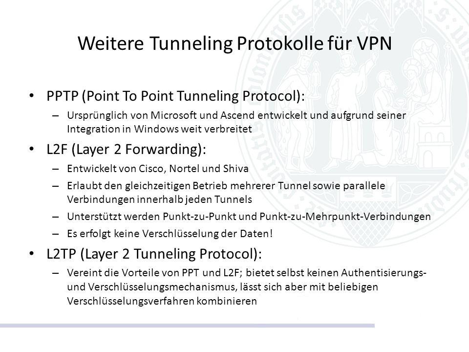 Weitere Tunneling Protokolle für VPN