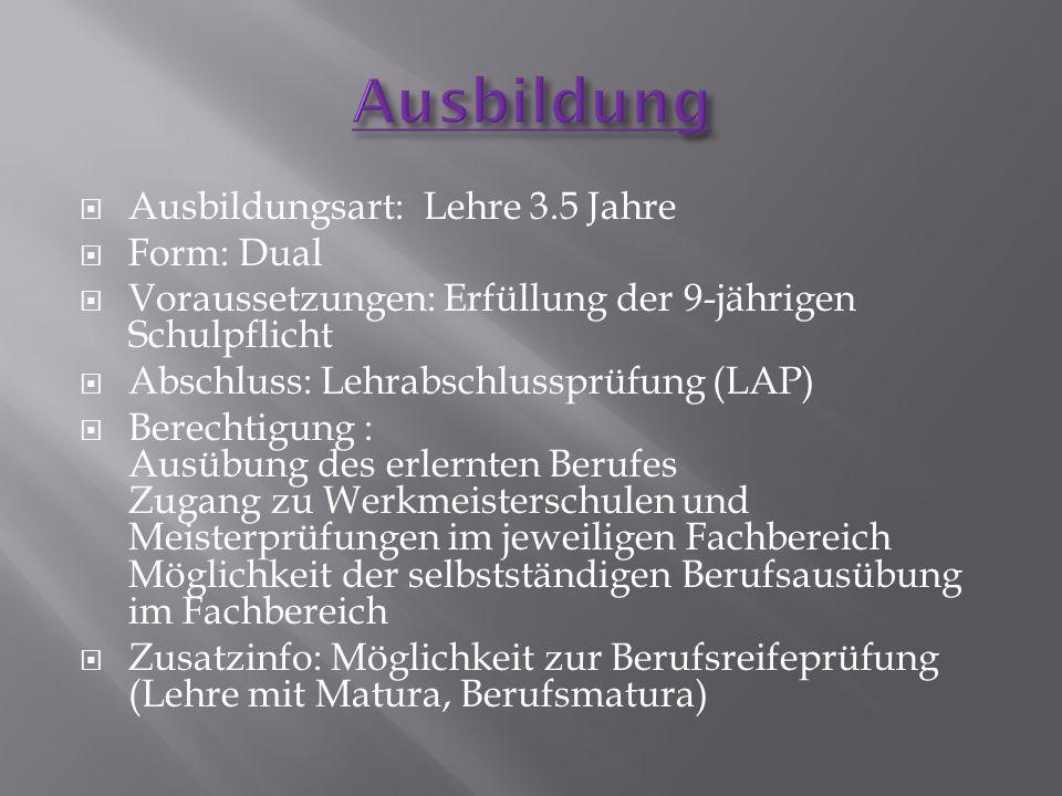 Ausbildung Ausbildungsart: Lehre 3.5 Jahre Form: Dual